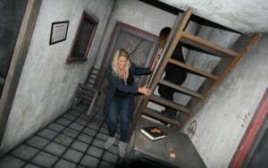 tilted room at prison island escape room Helsingborg