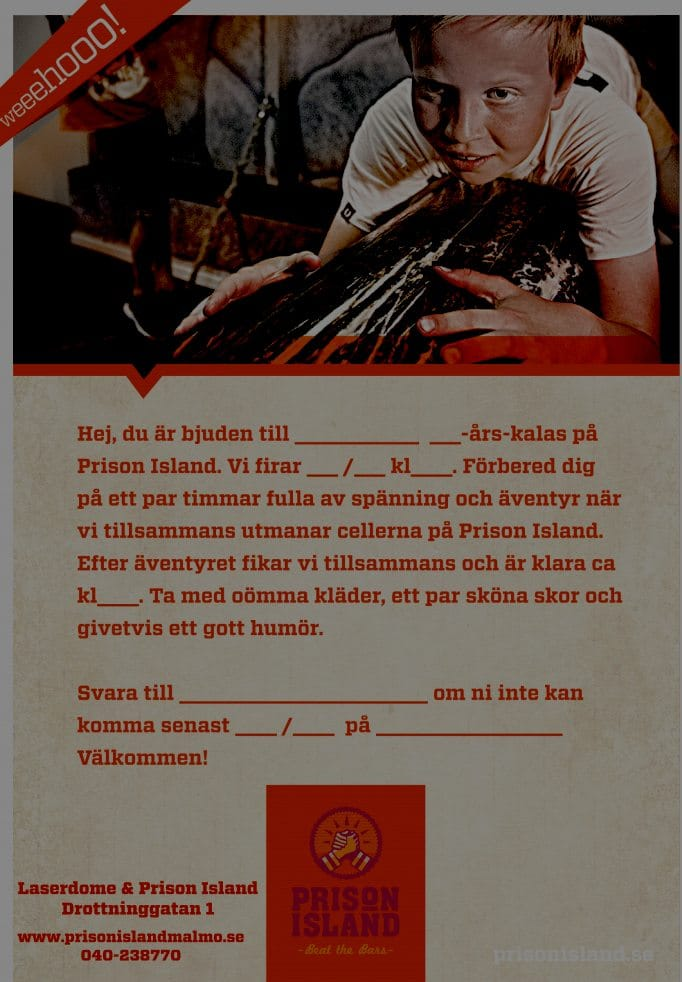 exempel på inbjudningskort Prison Island kalas